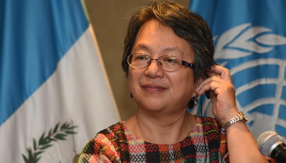TERRORIST? FNs spesialrapportør for urfolks rettigheter, Victoria Tauli-Corpuz, hevdes av Filippinenes president å samarbeide med terrorister. Foto: AFP / NTB scanpix