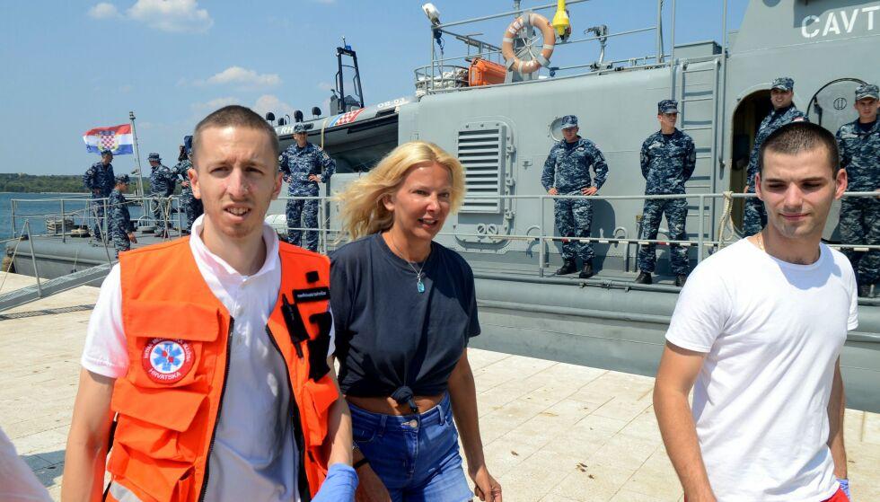 I GOD BEHOLD: Ti timer etter at Longstaff falt i havet, ble hun funnet av den kroatiske kystvakttjenesten. Foto: NTB Scanpix