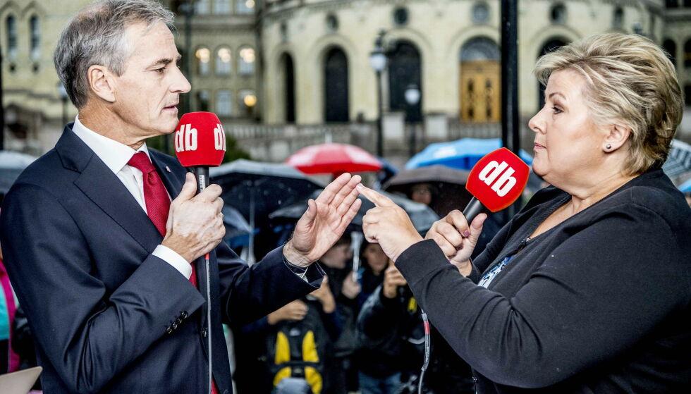 JEVNT: I nye meningsmålinger kniver Jonas og Erna om å være partileder for Norges største parti. I en av målingene skiller det kun 0,7 prosentpoeng i favør Erna. Foto: Thomas Rasmus Skaug / Dagbladet