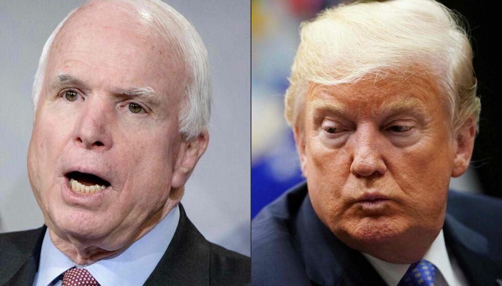 KONFLIKT: Fram til John McCain døde i fjor høst, var han i konflikt med Donald Trump. Foto: NTB Scanpix