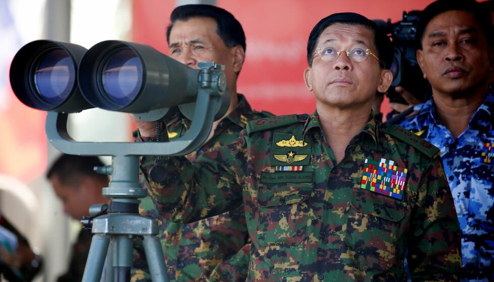 - MÅ STRAFFEFORFØLGES: FN-granskere slår fast at Myanmars øverste generaler, blant dem forsvarssjef Min Aung Hlaing, må etterforskes og straffeforfølges for folkemord i delstaten Rakhine. Her er Hlaing avbildet på en militærøvelse i februar. Foto: Reuters