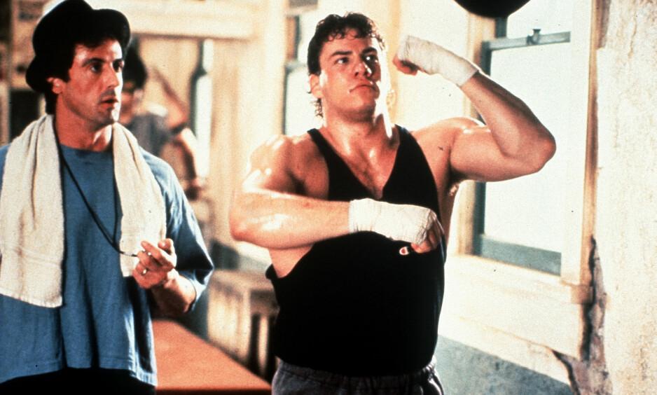 ROCKY: Tommy Morrison hadde rollen som bosketalentet Tommy Gunn som ble trent av Rocky Balboa, spilt av Rocky-skaperen Sylvester Stallone. Foto: Mary Evans Pictures / NTB Scanpix