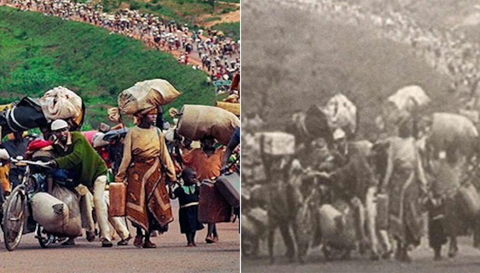 FORFALSKET: Bildet av hutu-folket som flykter fra Rwanda er i boka feilaktig brukt for å illustrere rohingyaer som ankommer Myanmar. Bildet til høyre er den opprinnelige versjonen. Foto: Reuters / NTB Scanpix