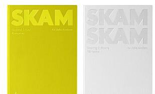 BOKA: Her er omslagene til de to første «Skam»-bøkene, som er designet av Snøhetta. Foto: Armada Forlag