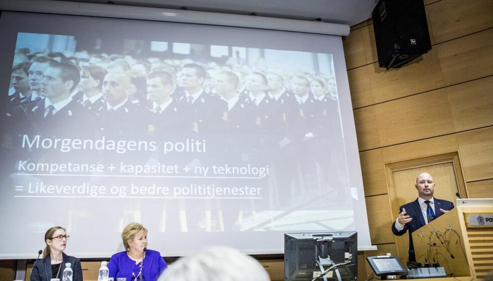 ENIGHET OM REFORM: Iselin Nybø (V), Erna Solberg (H) og Anders Anundsen (Frp) presenterte den nye politireformen i lokalene på Politihøyskolen i Oslo i februar 2015. Foto: NTB Scanpix