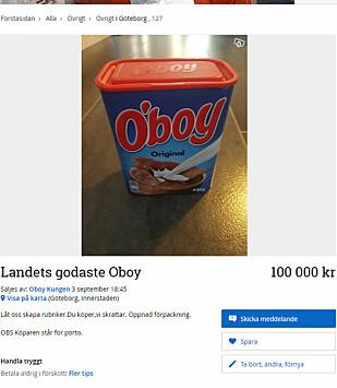 SKAMPRIS: På den svenske nettjenesten Blocket.se selges O'boy for opptil 100.000 kroner. Denne kremmeren holder forøvrig til i Göteborg. Faksimile: Blocket.se