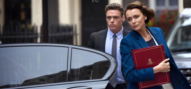 AGENDA: Innenriksminister Julia Montgue (Keely Hawes) har en plan for å sikre seg innflytelse. Foto: BBC / World productions