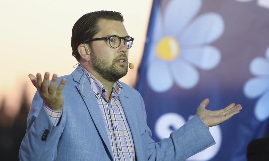 FALLER: Sverigedemokraternas partileder Jimmie Åkesson hadde tro på over 20 prosent, men må trolig se langt etter det tallet. Foto: Maja Suslin/TT / NTB Scanpix