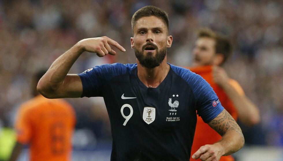 MÅL: Olivier Giroud sikret seieren for Frankrike. Foto: AP Photo/Thibault Camus