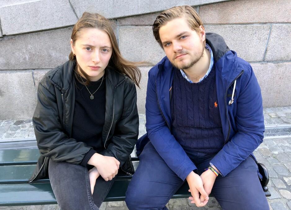 SKREMMENDE: Mira Stokke og Tobias Lund i Rød Ungdom mener tallene på hvor utbredt kjærestevold er blant tenåringer er skremmende høye. Foto: Gunnar Ringheim / Dagbladet