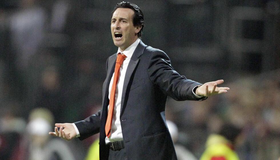PRØVDE Å TEMME BANEGA: Daværende Valencia-manager Unai Emery. Foto: AP Photo/Frank Augstein/NTB Scanpix