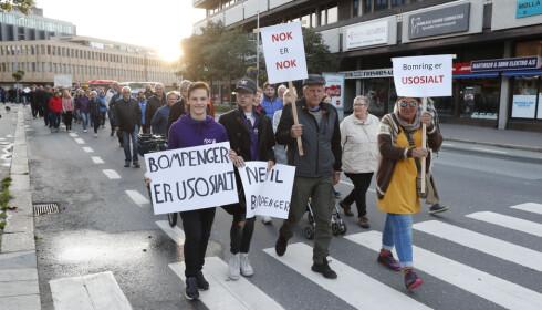 ANTI-BOM: I Fredrikstad og flere andre steder har det vært aksjoner og demonstrasjoner mot bompenger. Foto: Terje Bendiksby / NTB scanpix