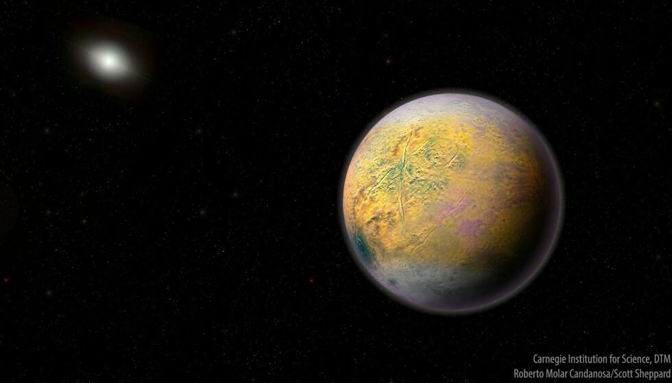PLANET X: En ny oppdagelse i ytterkanten av solsystemet leder forskerne nærmere i jakten på det de tror er Planet X, en planet på ti ganger jordas størrelse som trolig har blitt formet i det indre solsystemet. Illustrasjon: SWNS / NTB Scanpix.