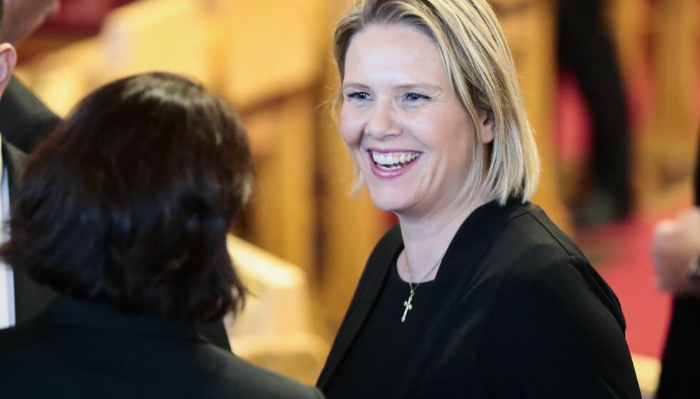 GIR OG TAR: Sylvi Listhaug (Frp) under den høytidelige åpningen av Stortinget 2018. Foto: Lise Åserud / NTB scanpix