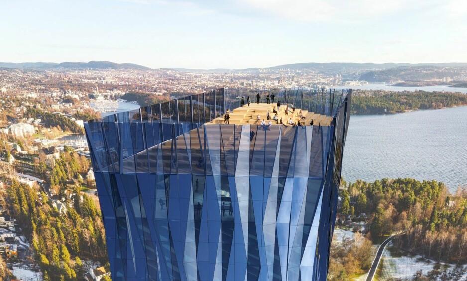 HØY: Denne bygningen planlegges å bygges på Fornebu. Etter planen skal den være 200 meter høy, og fungere som et hovedkontor for verdenshavene. Foto: FP Eiendom