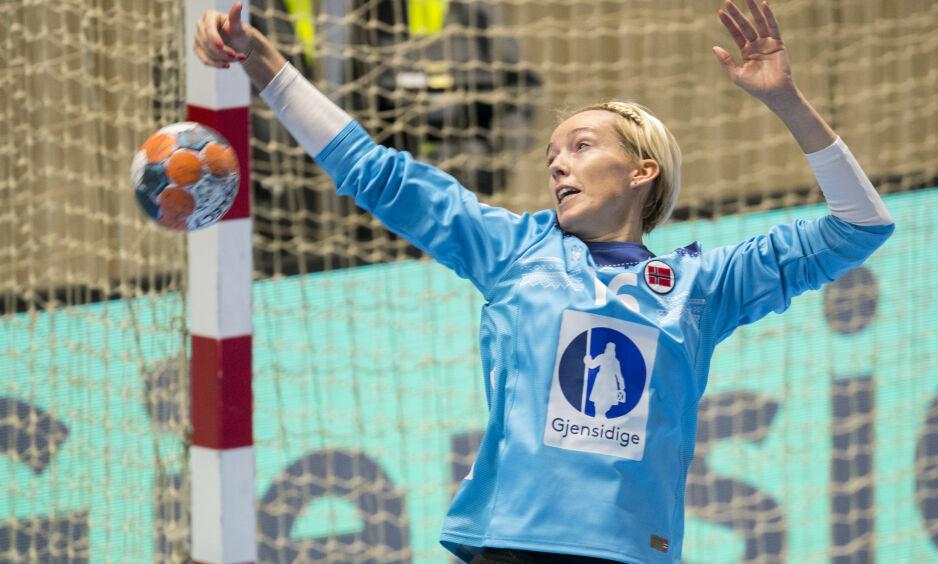 STO EN GOD KAMP: Katrine Lunde var god mot Larvik. Her er hun i aksjon for Norge. Foto: Vidar Ruud / NTB Scanpix
