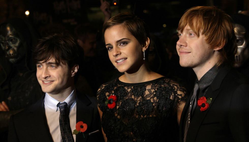 «HARRY POTTER»-STJERNENE: Daniel Radcliffe, Emma Watson og Rupert Grint spilte de populære rollene som Harry Potter, Hermine Grang, og Ronny Wiltersen. I dag har de nesten ikke kontakt. Foto: NTB Scanpix