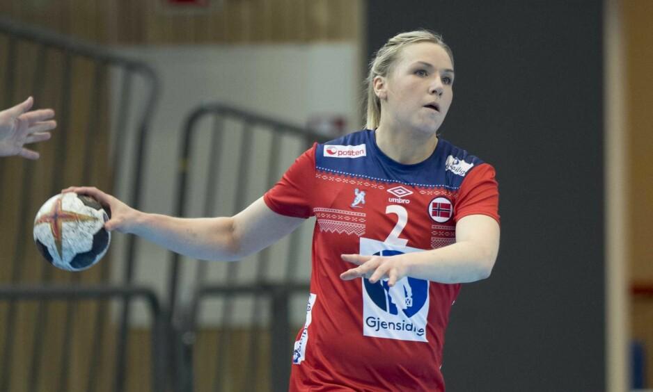 TOPPSCORER: Mari Kristine Molid scoret ni mål for Larvik i kveld. Her er hun i aksjon for Norge. Foto: Terje Pedersen / NTB scanpix