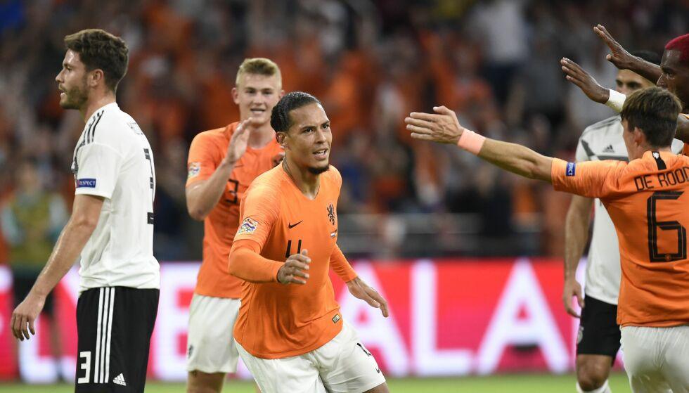 SCORET: Nederlands Virgil van Dijk sendte Nederland i ledelsen mot Tyskland. Foto: JOHN THYS / AFP / NTB Scanpix