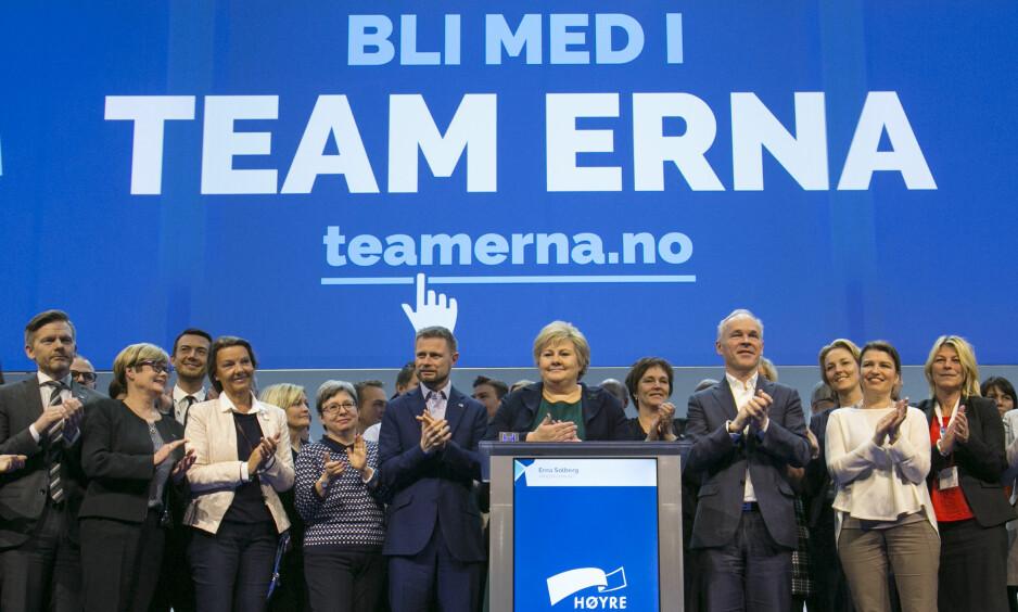 TEAM ERNA: Alarmen har gått i Høyre etter at de forsto at Hareide kan vinne flertallet på KrFs landsmøte. Foto: NTB Scanpix