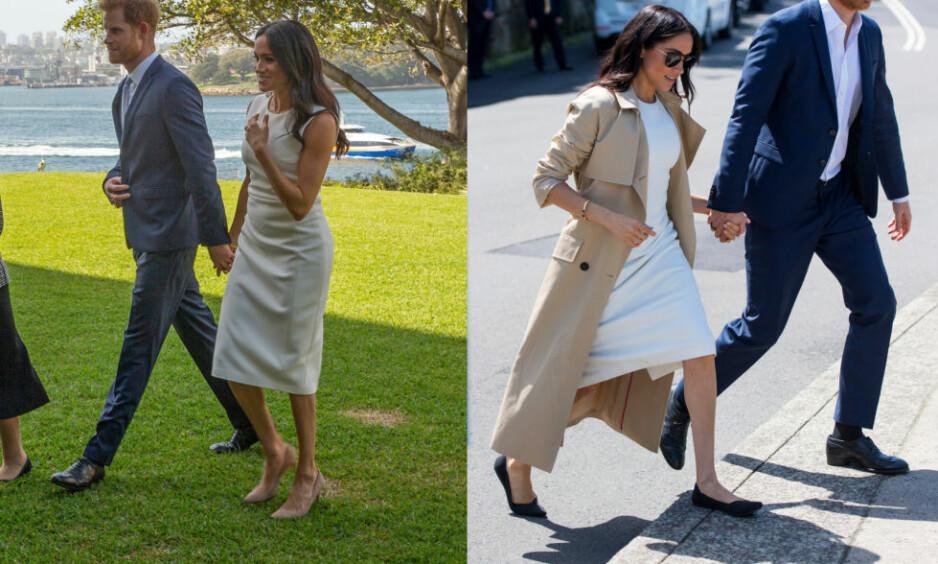 OVERRASKENDE BYTTE: Hertuginne Meghan valgte å bytte fra sine beige, høye hæler, til et par med flate sko. Dette er første gang hun viser seg i lave sko i perioden som hertuginne, men det er ikke derfor byttet nå skaper overskrifter. Foto: NTB scanpix
