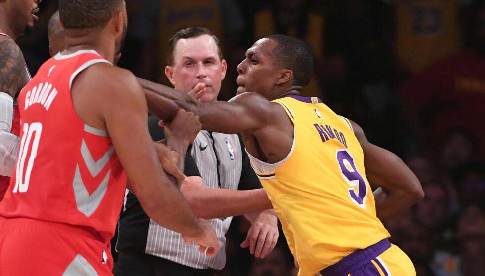 FULLT SLAGSMÅL: Rajon Rondo og Chris Paul havnet i slagsmål under en NBA-kamp lørdag kveld. Det var ikke helt uventet. De to har nemlig hatt et kjølig forhold lenge. Foto: Jayne Kamin-Oncea-USA TODAY Sports