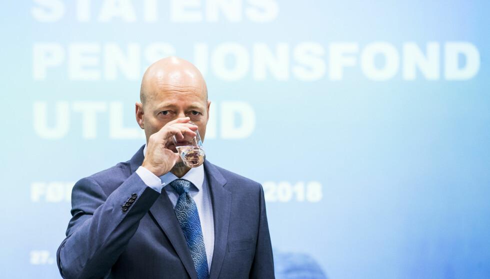 OLJEFONDET: Administrerende direktør Yngve Slyngstad i Statens pensjonsfond utland, Oljefondet, da han presenterte resultatene for første kvartal i år. Foto: Håkon Mosvold Larsen / NTB scanpix