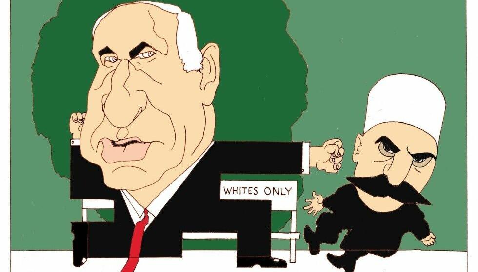 KARIKATURTEGNING: Dagbladet ble klaget inn til PFU av Israels ambassade, som hevdet denne tegninga er antisemittisk. Tegning: Finn Graff