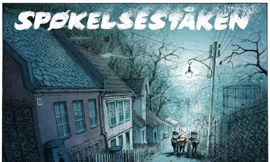 TIDSKOLORITT: Historien begynner med en stemningsfull tegning av Telthusbakken i Oslo under skumringen. Illustrasjon: Ronald Kabíček, Endre Skandfer og Bjarte Agdestein.