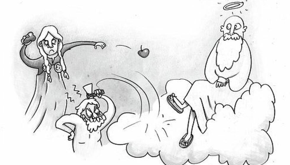 RELIGIONSKRIG: De gamle gudene misliker de nye. Tegning fra boka ved Jonna Björnstjerna.