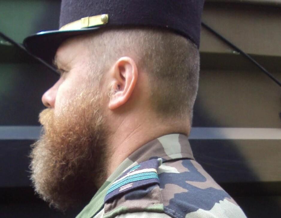 «VIKING»: Ifølge Svein Jemtland kalte medsoldatene hans i Fremmedlegionen ham for «viking». Skjegget var obligatorisk, har den drapstiltalte 47-åringen fortalt. Foto: Privat