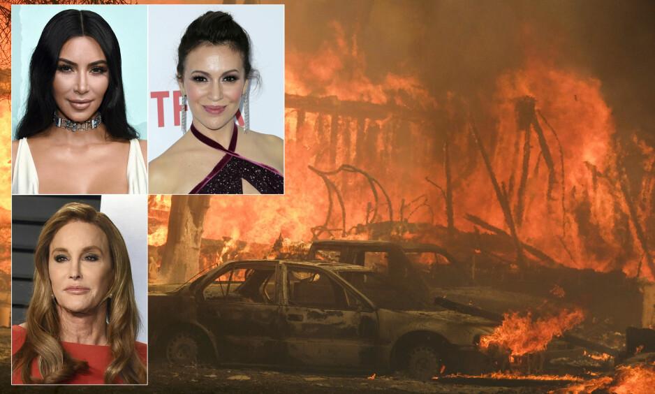 EVAKUERT: Over 157 000 personer i California har måttet evakuere som følge av flere skogbranner i delstaten. Kim Kardashian, Alyssa Milano og Caitlyn Jenner er blant kjendisene som har måttet evakuere. Foto: AFP Photo / NTB Scanpix