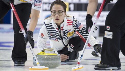 SKIP: Kim Eun-jung ble en folkehelt under OL i Pyeongchang. Laget tok et overraskende sølv i mesterskapet. Foto: NTB Scanpix