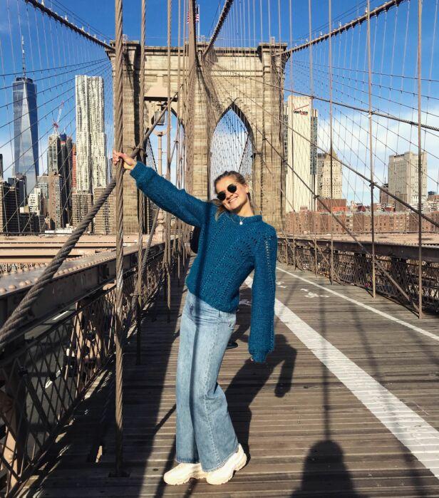 FORTSATT KONTAKT: Dette bildet ble tatt da Ahlsand besøkte Robin Pay i New York. Selv om hun knuste ham i finalen, har de to fortsatt god kontakt. Foto: Privat