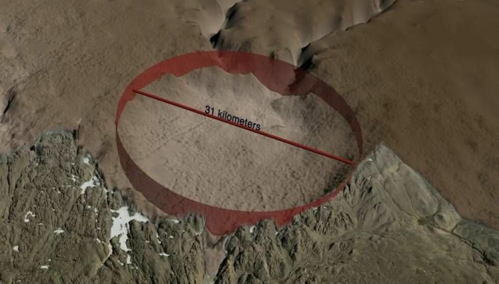 UNDER ISEN: Under grønlandsisen fant forskere et kjempekrater på 31 kilometer i diameter. Nå forsøker de å anslå hvor gammelt krateret er. Foto: Statens Naturhistoriske Museum
