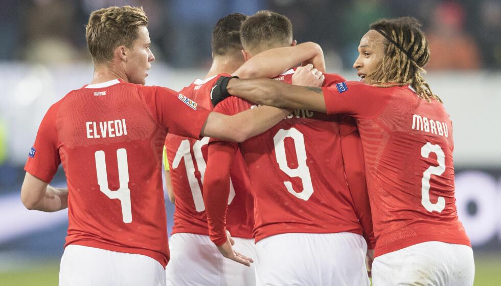 SJOKKERTE BELGIA: Det sveitsiske laget sjokkerte Belgia søndag kveld. Foto: NTB/Scanpix