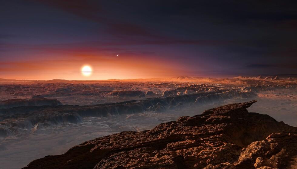 Illustrasjonen viser en den tenkte overflaten på planeten Proxima b, som går i bane rundt stjernen Proxima Centauri, vår aller nærmeste nabostjerne. Illustrasjon: ESO/M. Kornmesser