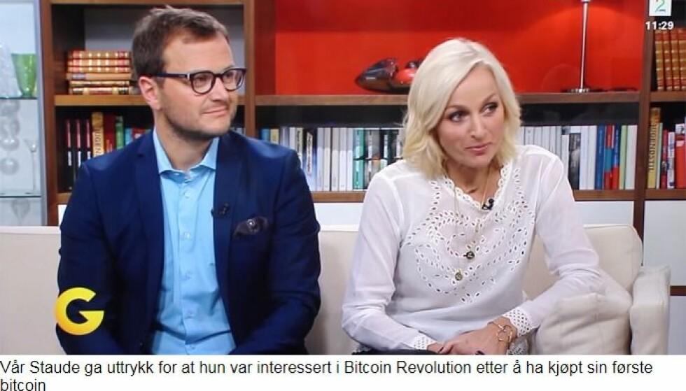 FALSK SITAT: I den falske artikkelen sier Vår Staude at hun tjente penger på Bitcoin på direkten. Foto: Skjermdump