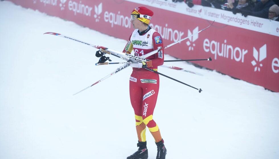 IKKE I SLAG: Heidi Weng, her etter kvinnenes 10 kilometer klassisk på Beitostølen forrige fredag, er langt unna den formen vi er blitt vant til å se henne i. Lørdag er det verdenscupåpning i finske Kuusamo. Foto: Terje Pedersen / NTB Scanpix