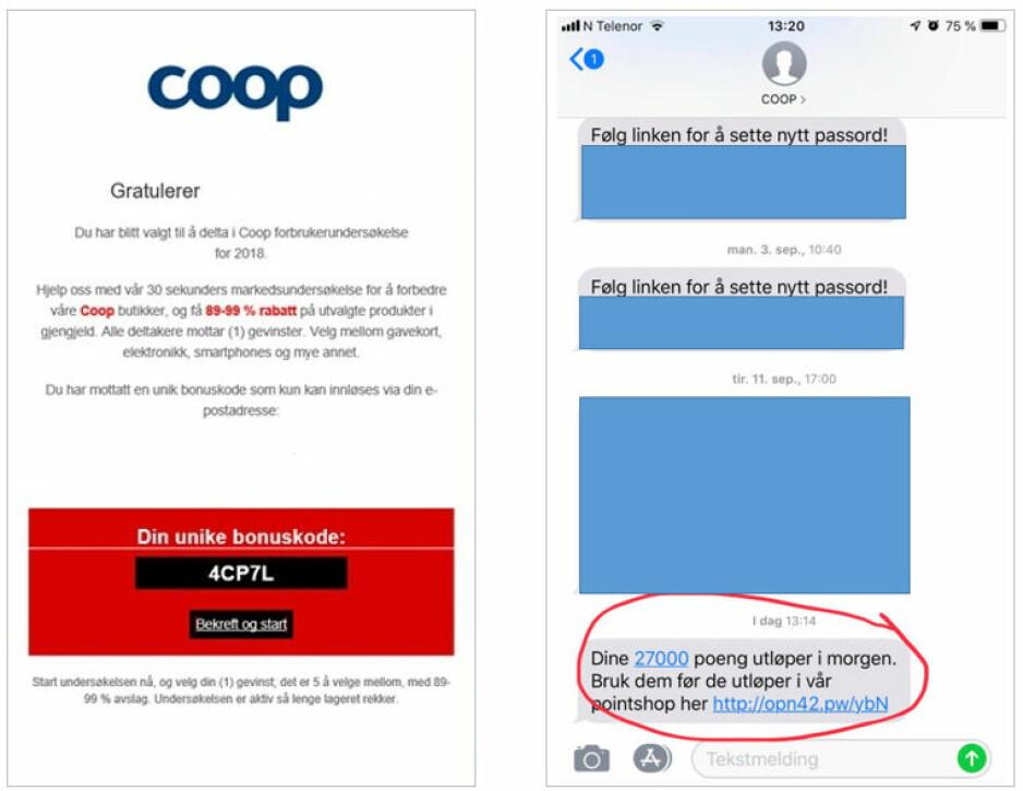 REN SVINDEL: I fjor mottok Coop 7 klager på svindel-SMS. I år er antallet tidoblet. Skjermdump: Coop