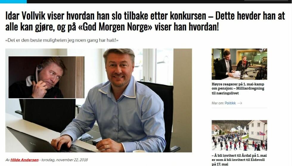 REN SVINDEL: Idar Vollvik synes det er forkastelig at hans ansikt blir brukt i Bitcoin-svindelen. Selv har an anmeldt forholdet til politiet. Foto: Skjermdump