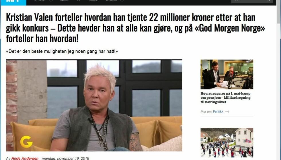 NESTEN IDENTISK: Nettsiden som bruker Kristians Valens ansikt er nesten helt lik som den som bruker Vollviks. Foto: Skjermdump
