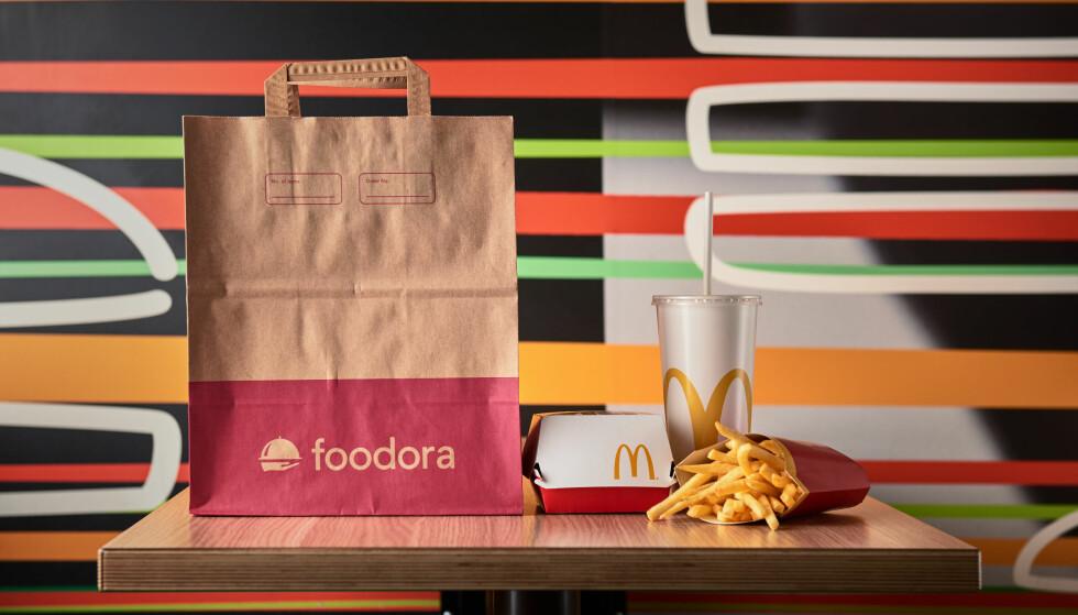 <strong>MCERN PÅ DØRA:</strong> McDelivery vil kunne bestilles via Foodoras tjenester fra og med tirsdag 27. november. Foto: McDonald's