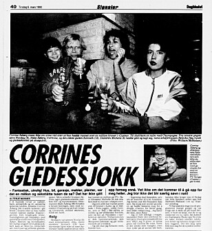 VINNER: Corrine Åsberg var den aller første som vant hus i Casino. Faksimile: Dagbladet 6. mars 1990.