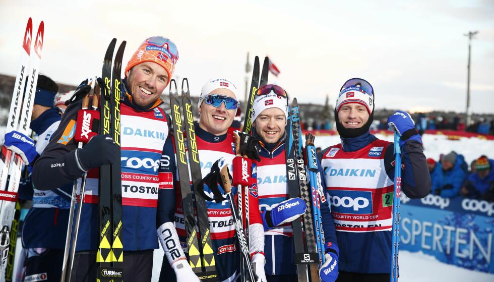 TOPP LAG: Finn-Hågen Krogh er tilbake og sørget sammen med Emil Iversen, Sjur Røthe og Martin Johnsrud Sundby for norsk seier i 4x7,5km stafett i verdenscupen. Nå er Krogh også aktuell for VM-stafetten. FOTO: Terje Pedersen / NTB scanpix