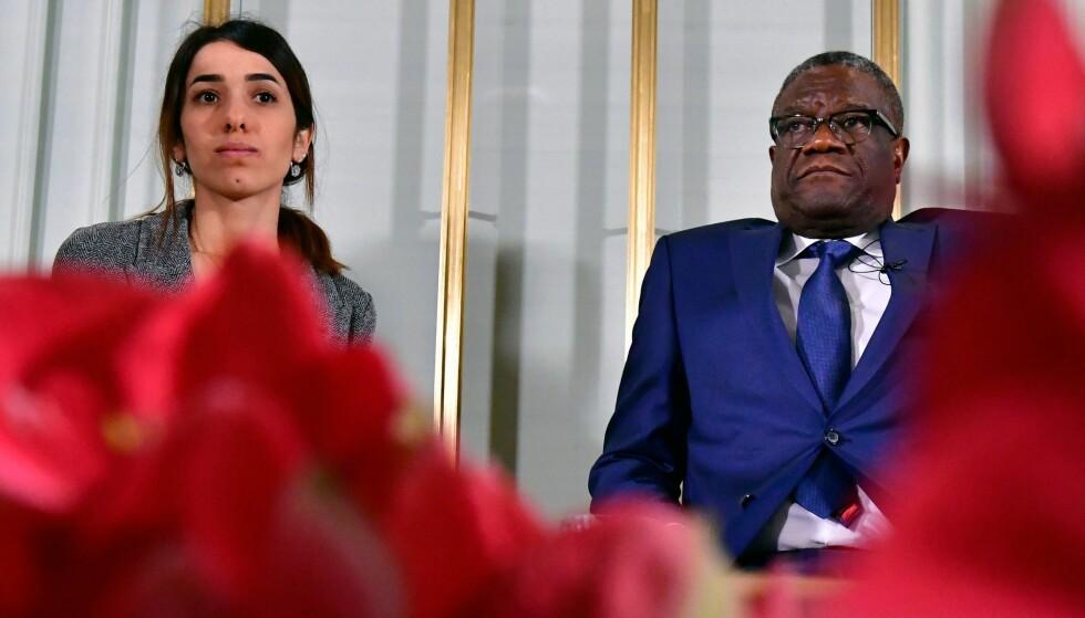 VINNERE: Den unge irakeren Nadia Murad Basee Taha og den kongolesiske legen Denis Mukwege er årets fredsprisvinnere. Foto: NTB Scanpix