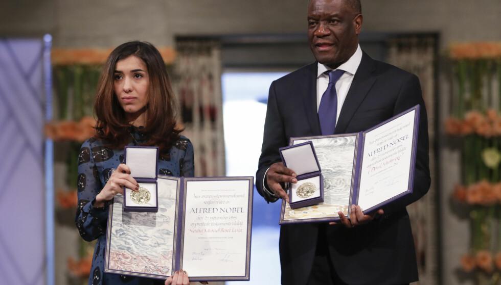 KAMP MOT SEKSUALISERT VOLD: Nadia Murad og Denis Mukwege mottok Nobels fredspris i Oslo rådhus mandag for sin kamp mot seksualisert vold brukt som våpen i krig og væpnede konflikter. Foto: Håkon Mosvold Larsen / NTB Scanpix