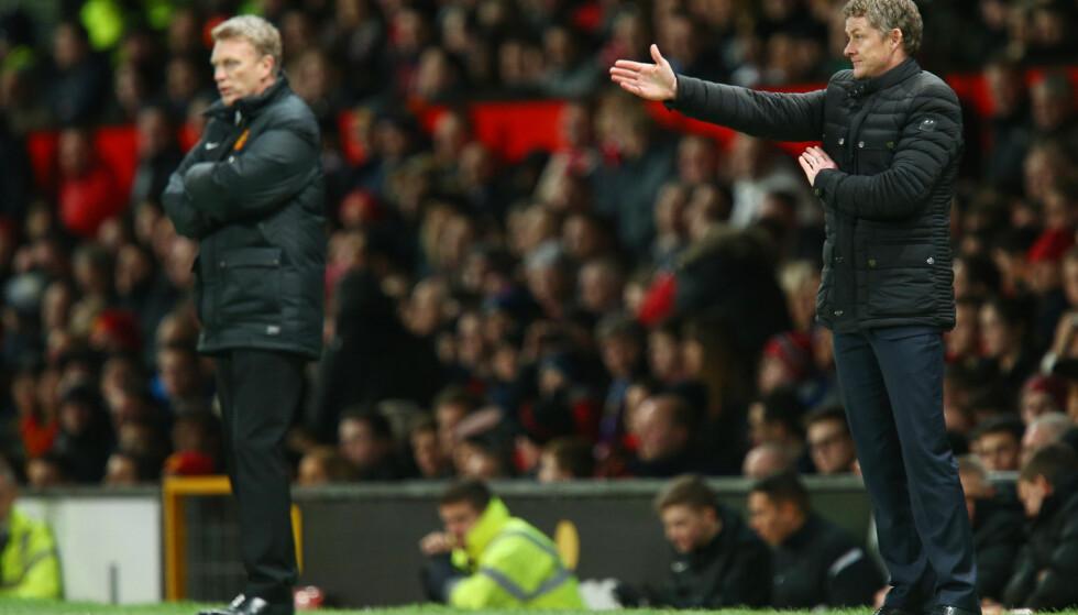 TILBAKE: Ole Gunnar Solskjær kom tilbake til Old Trafford som Cardiff-manager i 2014 i en trenerduell mot Ferguson-erstatter David Moyes. Nå blir Solskjær nestemann inn i Manchester Uniteds managerrekke. Foto: Bildbyrån