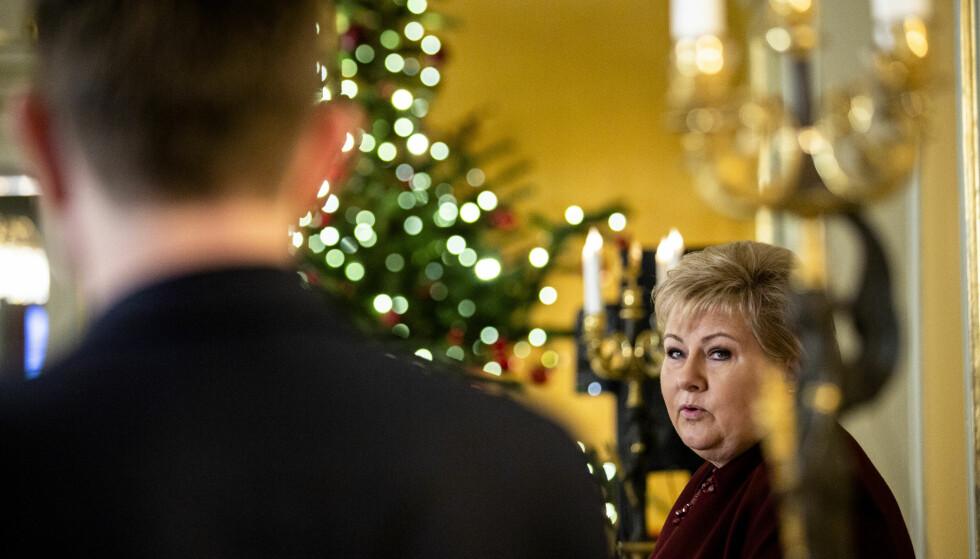 Oslo  20181220. Statsminister Erna Solberg under sin halvårlige presskonferanse i regjeringens representasjonsanlegg i Oslo. Foto: Stian Lysberg Solum / NTB scanpix