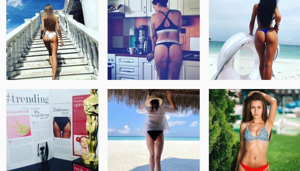 TOBLERONE-TUNNEL: En trekantet glippe mellom rompe og lår føyer seg inn i rekken av overdrevet detaljfokuserte kroppstrender. Her et utvalg bilder som er tagget med #tobleronetunnel på Instagram. Skjermdump: Instagram